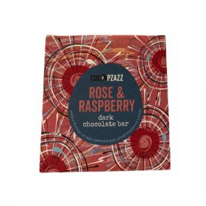 Coco Pzazz Rose and Raspberry dark chocolate bar
